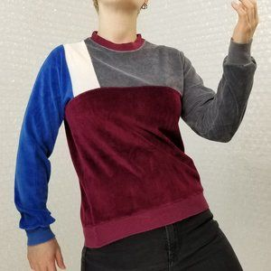 Vintage 1980s Deerfield velour colorblock pullover